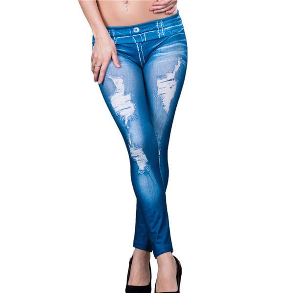 Wholesale- TW2138 Fashion trend women leggings jeans imitation hot sale blue seamless legging pants slimming spandex pants for ladies