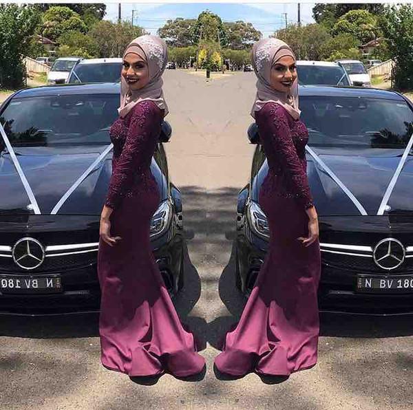 86b18fbb5b 2017 New Stunning Long Sleeves Muslim Evening Dresses Hijab Prom Dresses  Mermaid Long Formal vestido de
