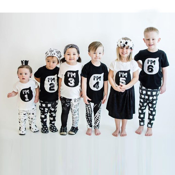 INS Family Matching Outfits Boys Girls Birthday Tshirt Baby Number One to Six Tshirt Tees Tops Kids Summer Clothes Baby Clothing 1-6Years