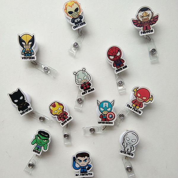 12pcs Batman Captain American Cartoon Retractable Lanyard ID Card Badge Holder Reels with Clip Keep ID Key Cell phone Safe
