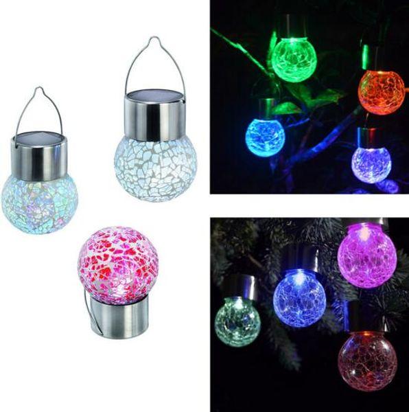 4 pz / lotto Led luce palla Crackle Glass LED caldo / Colore luce Solar Powered Cambiare colore all'aperto Hang Garden Lampada Prato Yard Decorare Lampada