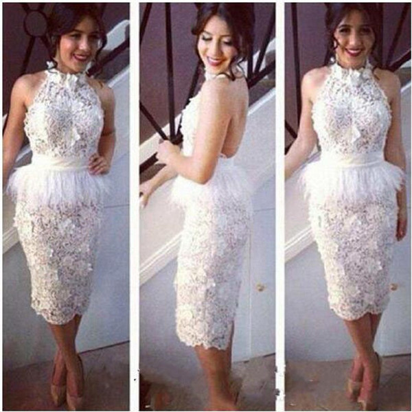White Short Cocktail Dresses 100% Handmade Ostrich Feather Prom Gowns Backless Evening Dress High Neck vestido de novia Special Occasion Dre