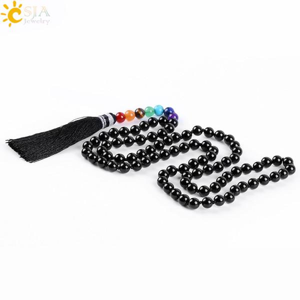 CSJA New Tassel Anhänger Regenbogen 7 Chakra Perlen Halskette Natural Black Onyx Achat Glasur Edelstein Mala Perlen Meditation Gebet Halsketten E589