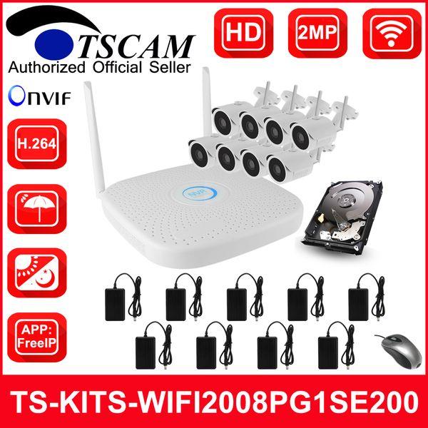 TSCAM new TS-KITS-WIFI2008PG1SE200 8CH HD 1080P 2MP Wireless NVR Kits WIFI IP Camera CCTV Security Kit Onvif IOS Android P2P