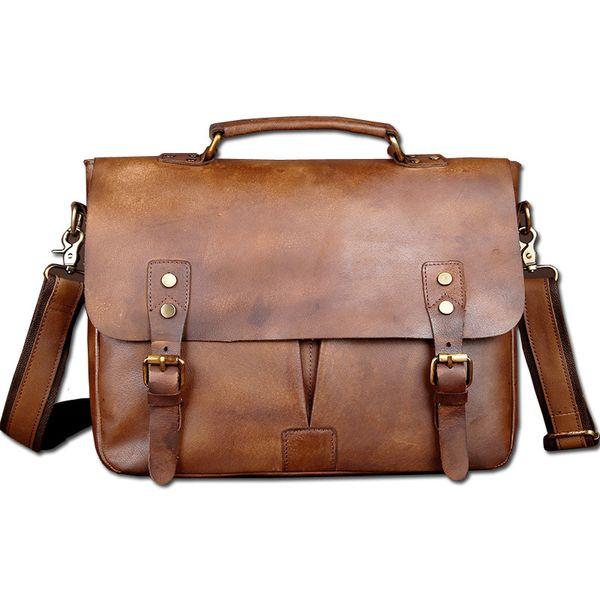 """Wholesale- Vintage Classic Briefcase Genuine Natural Leather Messenger Bag Men's Handbag Casual&Business Bag Shoulder Bag For 13"""" Laptop"""