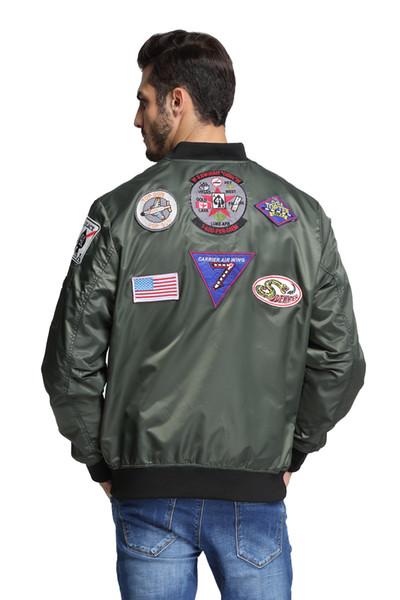 new styles 3e6a3 017ed Acquista Toppe MA1 Top Gun Navy Giacca Da Volo Militare Verde Militare Hip  Hop Streetwear Letterman Varsity Bomber Giacca Volo Uomo A $32.31 Dal ...