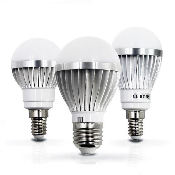 top popular LED lamp E27 E14 3W 5W 7W 9W 12W 15W 85V-265V LED Lights Led Bulb light lighting high brighness Silver metal 2019