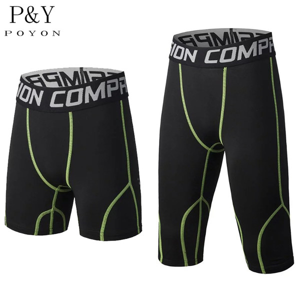 Wholesale- New Mens Compression Shorts Compression Base Layer Tight Boxers Fitness Exercise Shorts Gym Workout Crossfit Runnig Shorts
