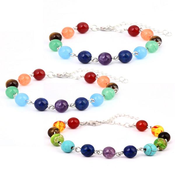 Hot Selling Unisex Chakra Healing Bracelets With Real Stones Mala Meditation Bracelet Stone Bracelets 8 Mm 7 Colorful Beads B123S