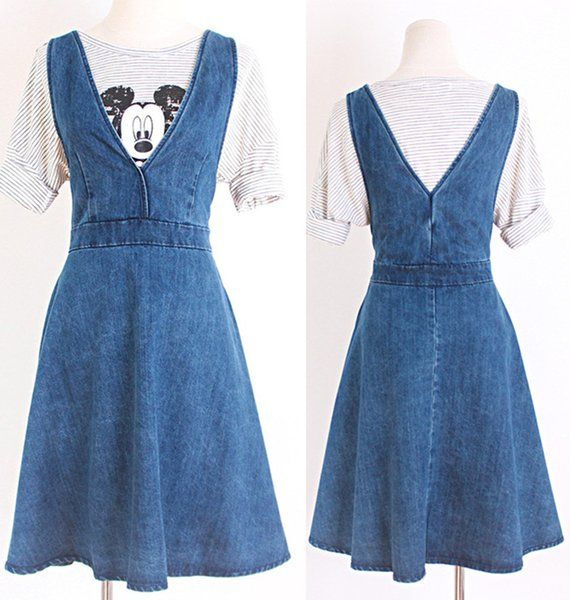Women Girls Student V-neck Sweet Fashion Casual Light Blue Short Sleeve Denim Dress Skirt Clothes 2970
