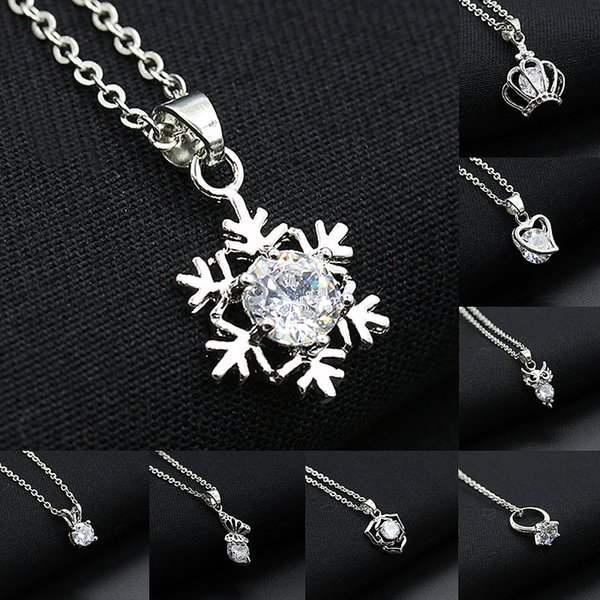 8 Style New Hot Love necklace set auger snowflakes necklace Crown eagle butterfly necklace for women free shipping