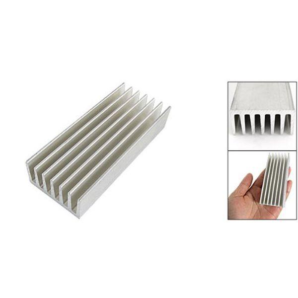 Wholesale- YOC Hot New 98 x 40 x 20mm Silver Tone Aluminium Heat Diffusion Cooling Fin