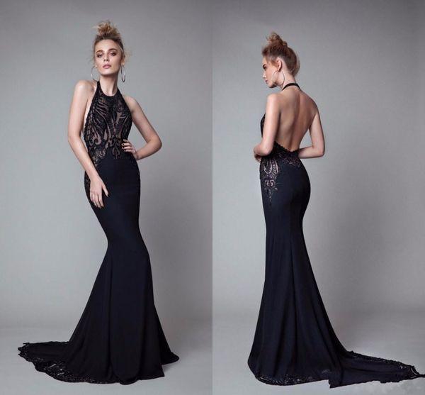 2017 Berta Black Dresses Evening Wear Halter Sleeveless Mermaid Lace ...