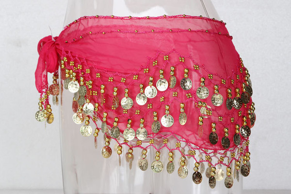 best selling 7 Colors3 Rows 128 Coins 150g cheap Belly Egypt Dance Hip Skirt Scarf Wrap Belt Costume