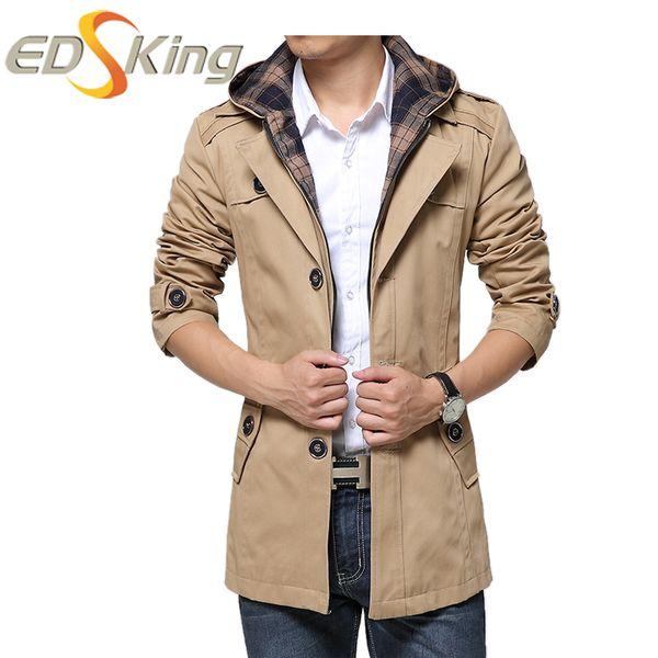 Wholesale- Man Hooded Male Windbreaker Single-Breasted Trench Coat Long Sleeves Detachable Hooded Jacket For Men Bomber Coat New Raincoat
