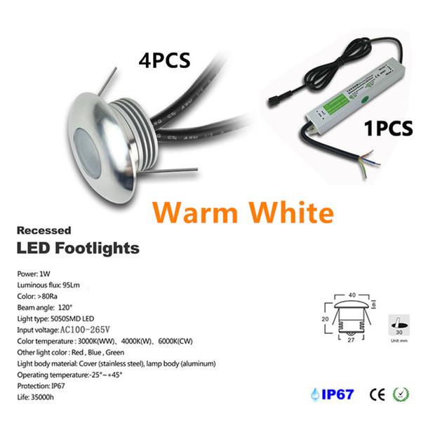 4pcs / set Warm White