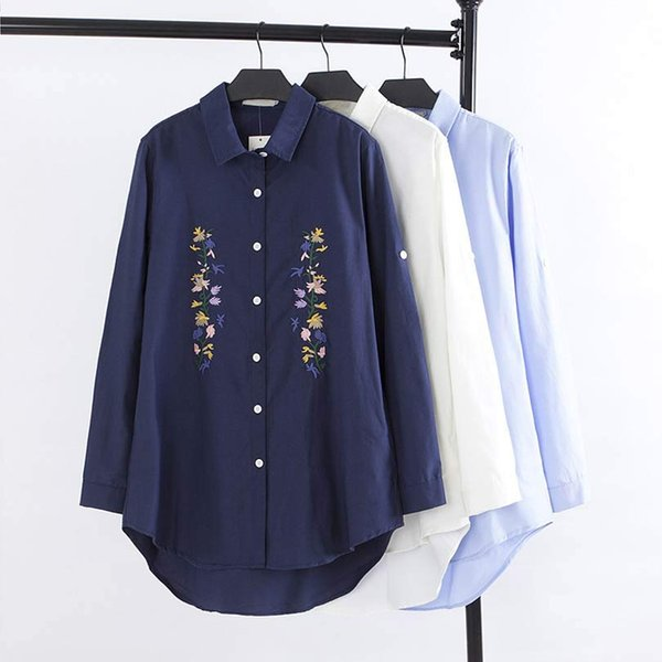 F31 Autumn Casual Women Long Shirt Abbigliamento donna taglie forti Orlo asimmetria manica lunga Camicie in cotone con ricamo moda