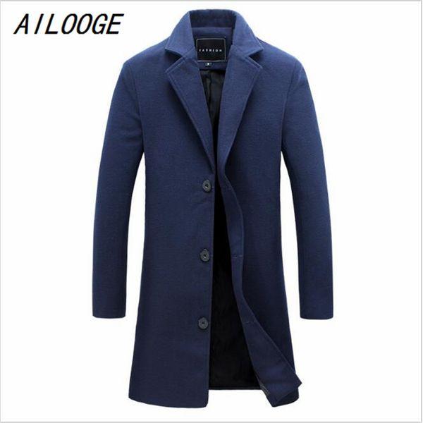 Wholesale- AILOOGE New Men's Woolen Coat Solid Color Fashion Long Paragraph Slim Lapel Coat Male Business Suits Men's Casual Jacket 4XL 5XL