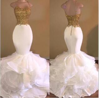 Sereia De Ouro Sexy Longo Vestidos de Festa de Baile 2019 Espaguete-Strap Sem Mangas Backless 2K17 Applique Frisado Cristal Ruffles Lace Evening Vestidos