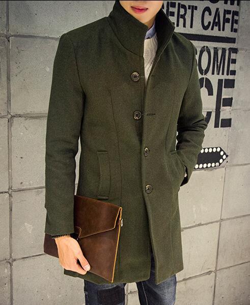 Wholesale- Coreano slim fit Casual mens longo exército verde trench coat 3xl Preto cinza azul marinho vinho tinto De Lã
