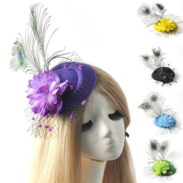6pcs/lot ladies headwear bridal wedding party proms fancy dress accessory mini pillbox hat flower feather fascinator hair clip