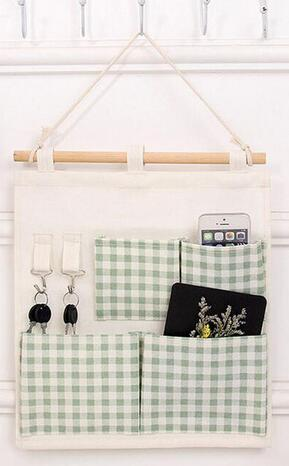 50pcs/lot Useful Sundry Cotton Linen Wall Hanging Organizer Bag Multi-layer Holder Storage Bag Pouch Home Decoration
