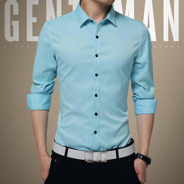 Wholesale- New 2016 Spring Autumn Cotton+silk Dress Shirts High Quality Mens Casual Shirt,Casual Men Plus SizeM-4XL Slim Fit Social Shirts