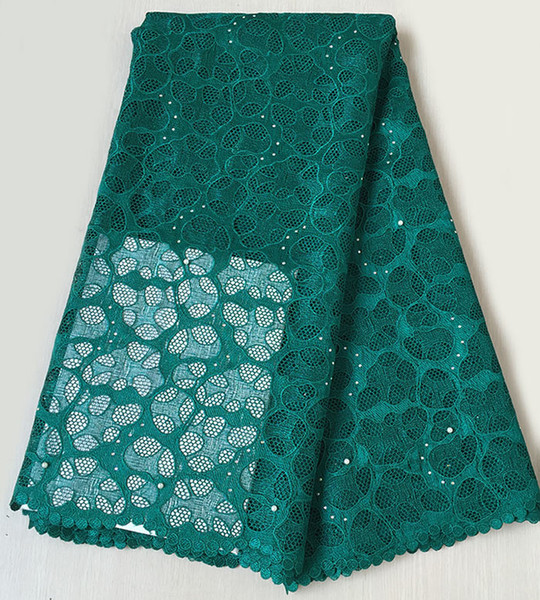 Teal green African cord lace fabric African guipure lace fabric 5 yards high quality