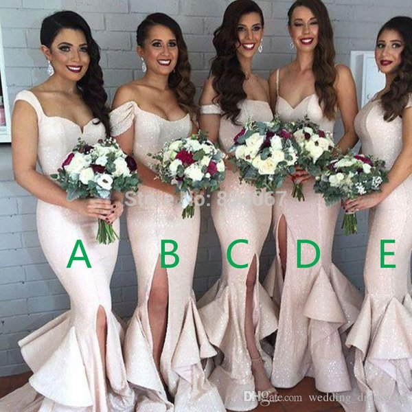 Shining Fabric Mermaid Bridesmaid Dresses 2017 Side Split Women Formal Gowns for Wedding Party Elegant vestidos de formatura