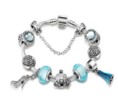 Top Quality 925 Sterling Silver Clear Blue Murano Glass Beads Fits European Charms Bracelets Safety Chain Jewelry DIY Valentine's Day Gif