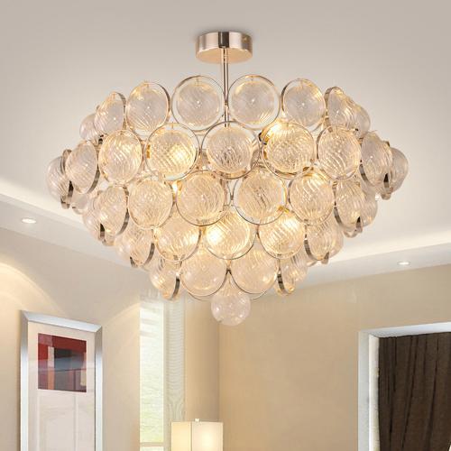 Post-modern led pendant lamp led chandeliers new design charming glass round creative pendant lights restaurant villa living room hotel