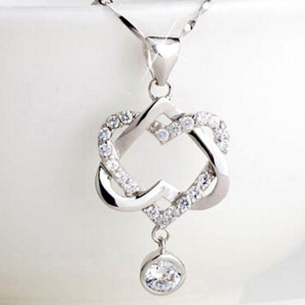 Hot selling Silver Plated Women Double Heart Pendant Sterling silver Plated Necklace Chain Jewelry for mon girlfriend gift free shipping