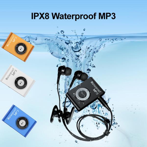 IPX8 Impermeable 8GB Mini Clip Reproductor de MP3 Música Submarino Natación Buceo Deportes Portátil 4GB con Radio FM Reproductor multimedia de sonido estéreo