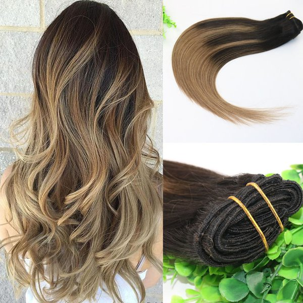 8A 7pcs Full Head Clip In Human Hair Extensions Ombre Dark Brown To Medium Brown Highlights Hairstyle