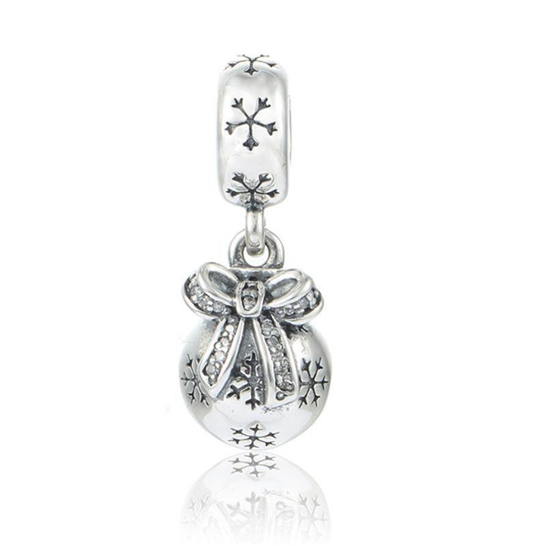 Christmas charms barrel snow flake original S925 sterling silver jewelry fits for pandora bracelets antique free shipping ale LW479H9