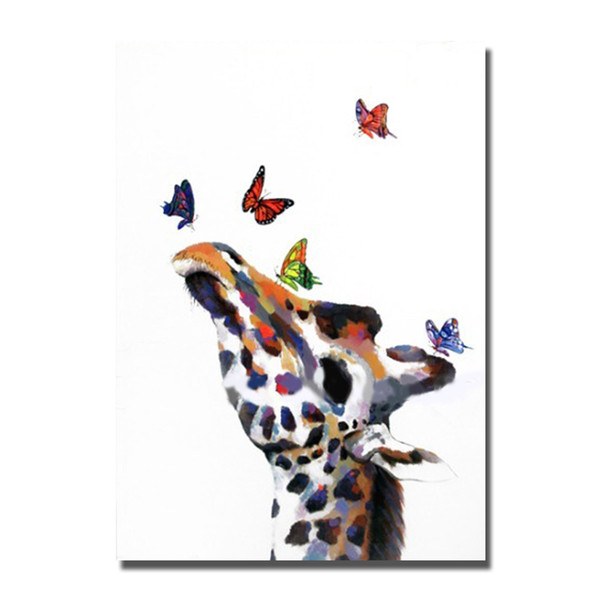 Free shipping cartoon animal oil painting hand painted animal head home wall decoration abstract canvas art