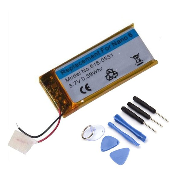 3.7V Li-ion Battery Replacement 330mAh For iPod Nano 6 6th Gen 8GB 16GB Battery With 1set Free tools