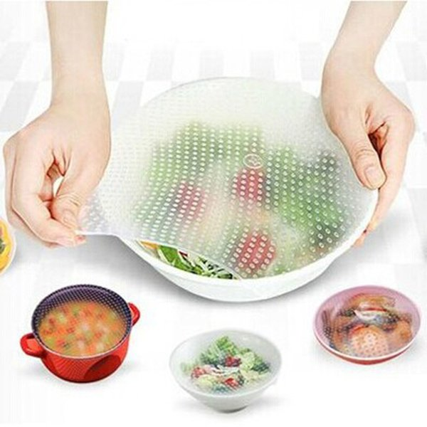 3pcs Silicone Wraps Seal Cover Stretch Cling Film Food Fresh Keep Kitchen Tools