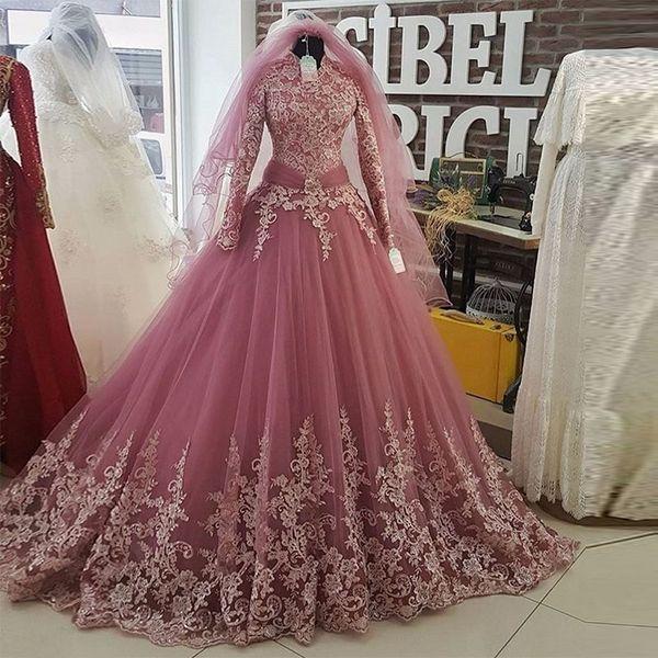 Pink Arabic Muslim Wedding Dress 2017 New Arrival Lace Bridal Ball ...