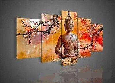 Enmarcado en 5 paneles, arte de pared, religión, buda, pintado a mano puro, moderno, decoración de pared, paisaje, pintura al óleo sobre lienzo. Tamaño múltiple disponible DHworl