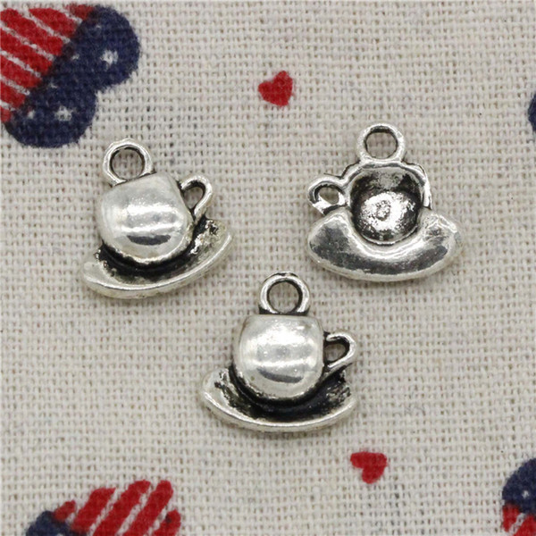 Wholesalecs- 186pcs Charms coffee tea cup and saucer 15*14mm Pendant,Vintage Tibetan Silver,For DIY Necklace&Bracelets Jewelry Accessories