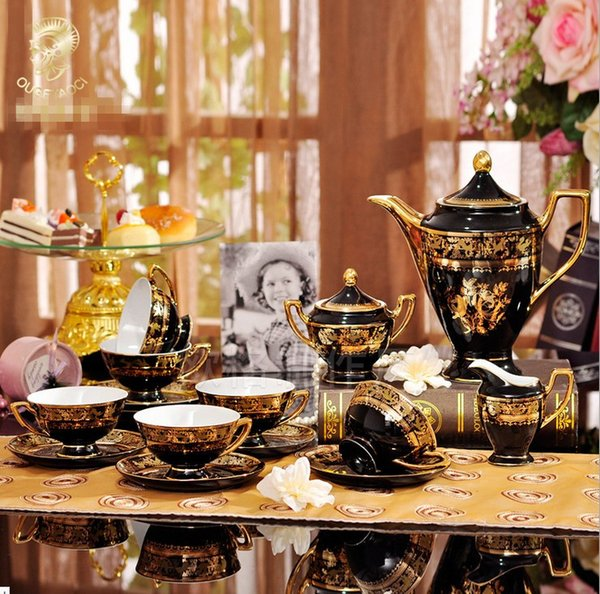 2017 Classic Porcelain 15pcs Gold Flower Afternoon Tea New Bone china Mug European Ceramic Coffee Cup Saucer Tea Sets Tea Pot Jug Drinkware