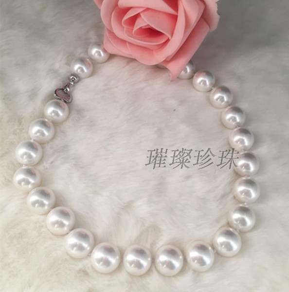 top popular Fine natural Pearls Jewelry gorgeous 12-15mm south sea round white pearl necklace 18inch 14k 2021