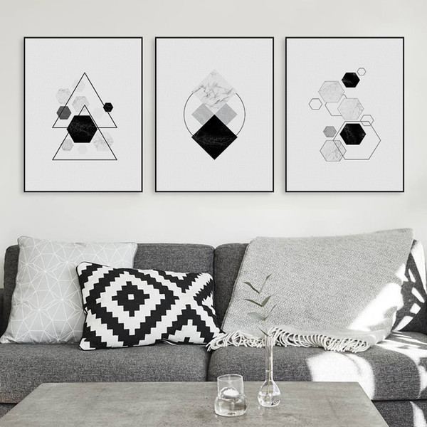 Black White Modern Original Abstract Geometric Shape Canvas A4 Art Print Poster Nordic Wall Picture Home Decor Painting No Frame