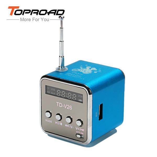 Wholesale- TD-V26 Mini Portable Speaker Digital LCD Sound Box LED Light Altavoz TF FM Radio Music Loudspeaker for Mobile Phone MP3/4 Player