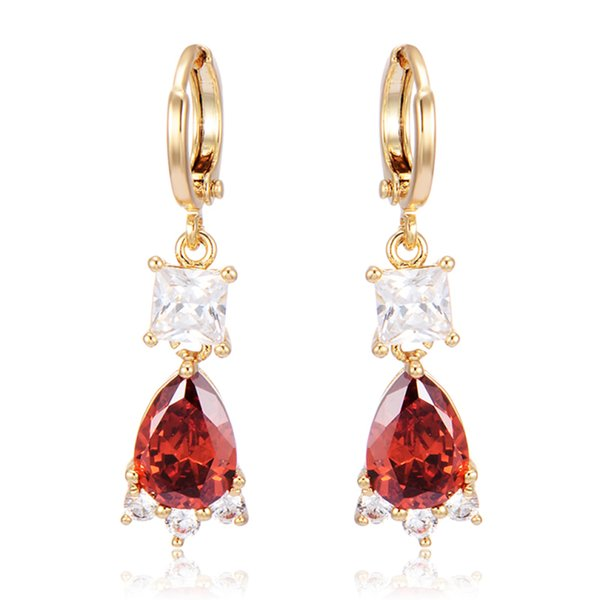 4Colors Available 18K Yellow Gold Plated Square CZ Teardrop Zircon Charm Drop Dangle Earrings Fashion Womens Jewelry Bijoux for Party