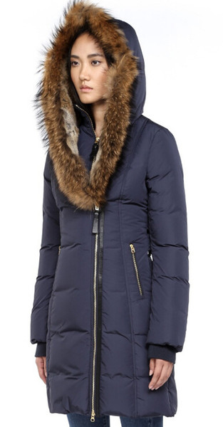 Women's Down jacket WINTER MAC-TRI-F4-A701 Down & Parkas Brand Real Raccoon Fur Collar White Duck Outerwear & Coats WITH FUR HOOD