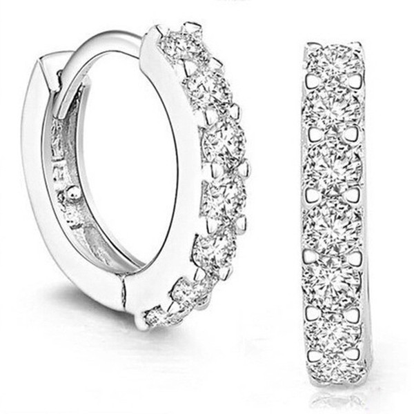 top popular Good Quality 925 sterling silver small hoop earrings with zircon fashion jewelry engagement gift for women&Girls 2019