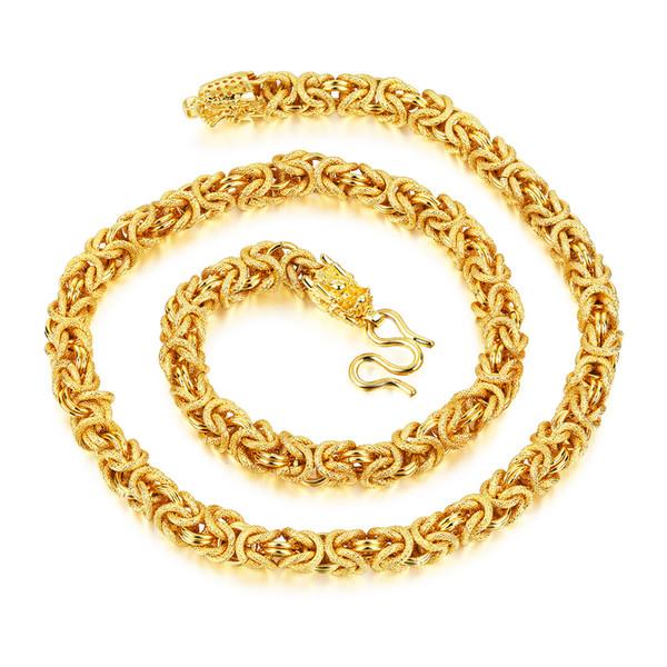 Edelstahl vergoldet Seil texturierte byzantinische eckige Gliederkette mit Drachenverschluss