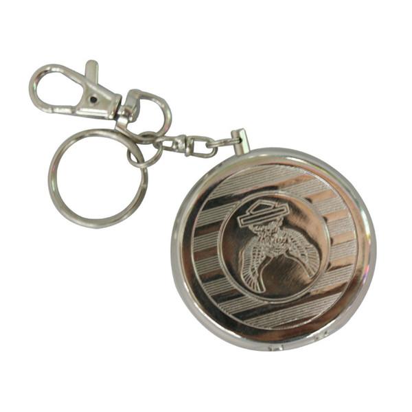 silver key chain smoking cigarette ashtray holder portable mini tobacco metal aluminium ash tray mini keychain ashtray